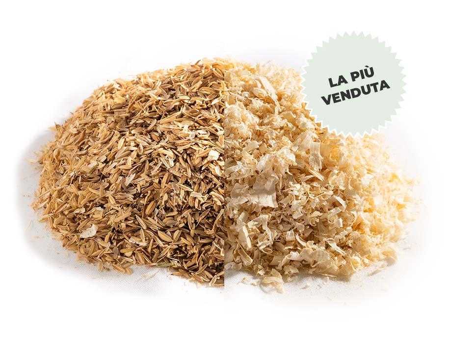 Miscela Lolla di riso + Truciolo di legno vergine sfuso